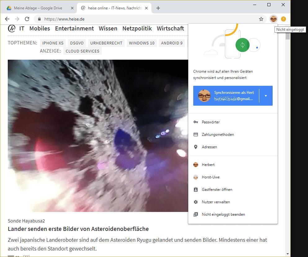Eingeloggt [--] oder doch nicht? Chrome 69 verbindet den Browser automatisch mit einem Google-Account, aber die Synchronisierung bedarf noch eines Mausklicks.
