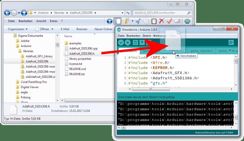 .h in Arduino-IDE öffnen