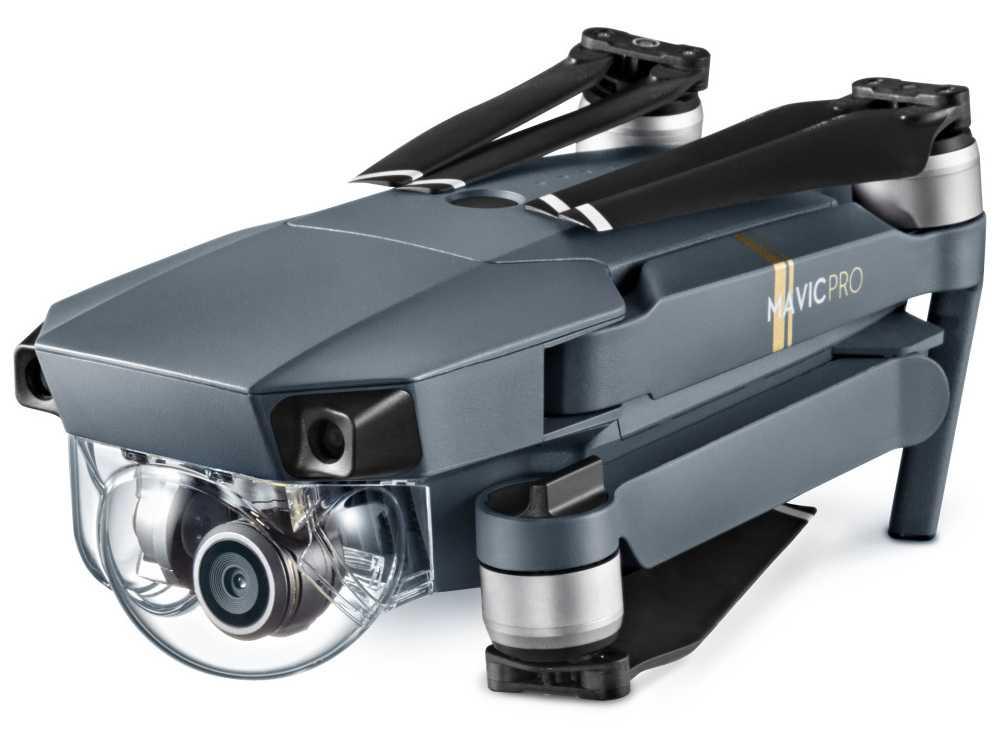 Im eingeklappten Zustand schrumpft der Mavic Pro auf eine portablen Größe und lässt sich so auch bequem in einem kleineren Rucksack transportieren. Durch seine mit einer transparenten Plastikkuppel geschützten Kamera wirkt er wie ein Mini-U-Boot.